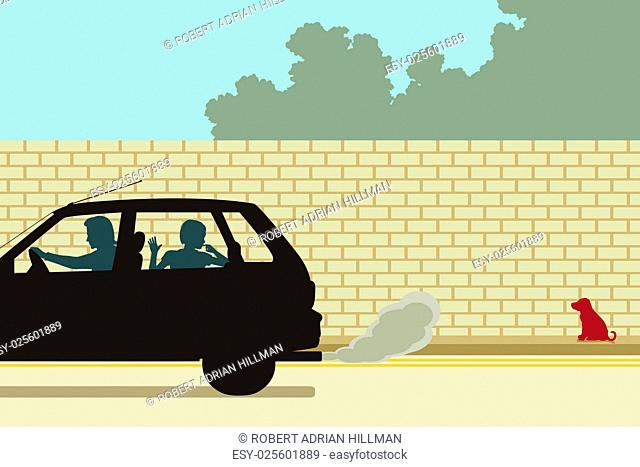 Editable vector illustration of a puppy being abandoned by a family driving away