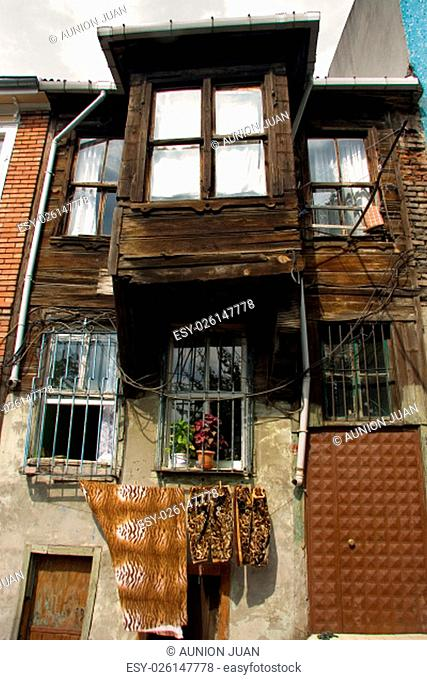 Traditional wooden house. Old town one of most popular tourist attractions in Istanbul, Turkey