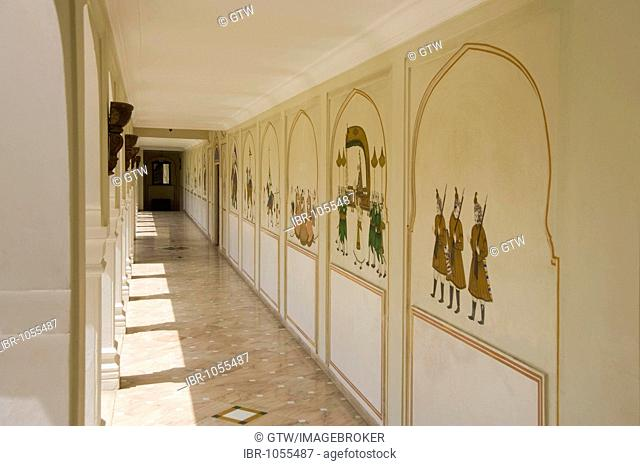 Traditional rajput wall paintings, Jaipur, Rajasthan, India, South Asia