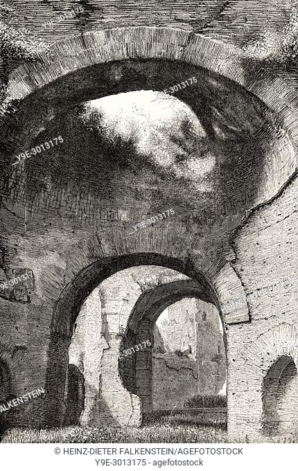 The caldarium of the Baths of Caracalla, Rome, Italy, 19th Century