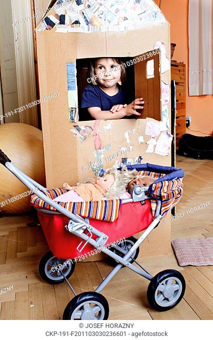 child, baby, girl, childhood, pram, toy doll, paper box, house