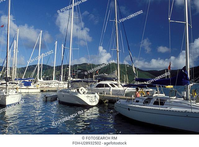 marina, Caribbean, Tortola, British Virgin Islands, Road Town, BVI, Boats docked at a yacht club on the Caribbean Sea on the island of Tortola
