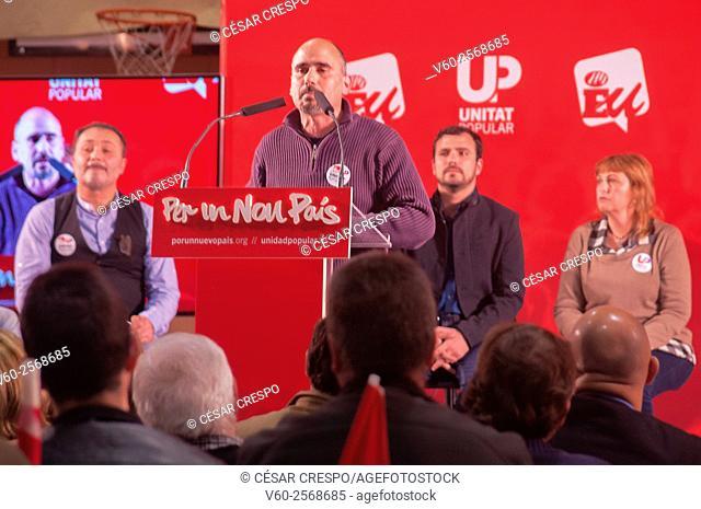 Candidates of 'Izquierda Unida Party' and Leader Alberto Garzón back sit. Speech in Alicante Spain. Elections 2015