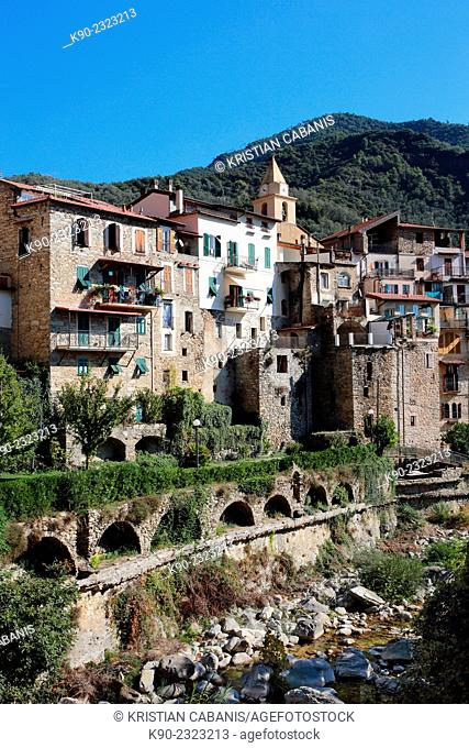 Traditional residential buildings with Oggia river, Rochetta, Liguria, Italy, Europe