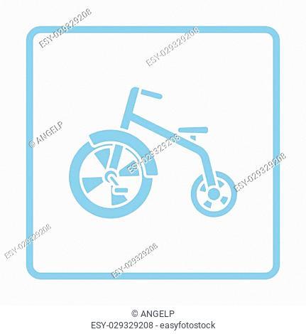 Baby trike ico. Blue frame design. Vector illustration