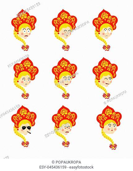 Russia set emoji avatar. sad and angry face. guilty and sleeping. Russian Girl sleeping emotion face. Female Joyful in national hat Kokoshnik