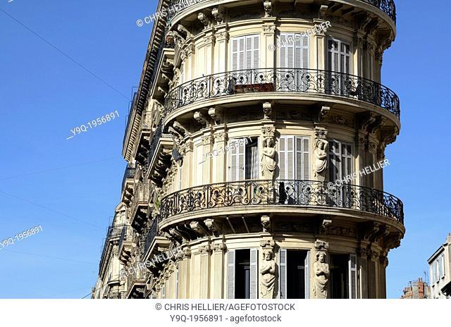 Belle Epoch Apartments with Art Nouveau Figures on La Canebière Marseille France