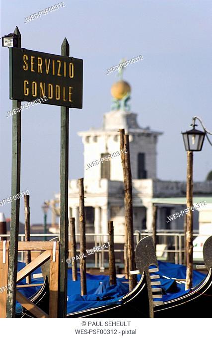 Italy, Venice, Landing stage, gondola