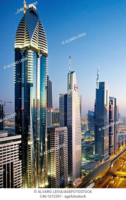 Sheik Zayed Avenue, Satwa district, Dubai City, Dubai, United Arab Emirates, Middle East