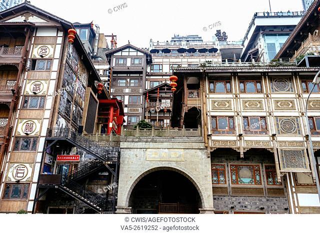 Chongqing, China - The view of Hongyadong tour spot, a vintage business block