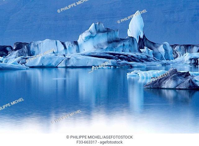 Iceland. Vatnajokull glacier. Iceberg at Jokulsarlon