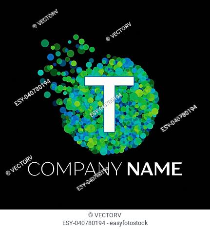 Realistic Letter T logo with blue, purple, pink particles and bubble dots in circle on black background. Vector template for your design