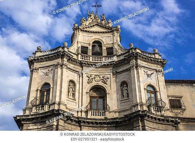 Baroque style Chiesa di San Placido Monaco e Martire (Church of Saint Placidus) in Catania city on the east side of Sicily Island, Italy