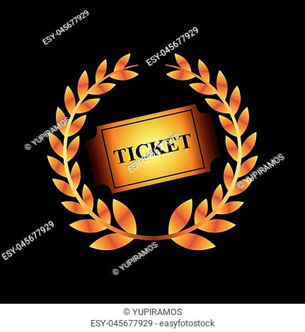 golden wreath of leaves and cinema ticket icon over black background. colorful design. vector illustration