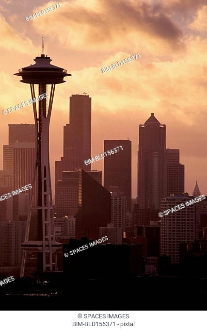 Space Needle and high rise buildings in Seattle city skyline, Washington, United States
