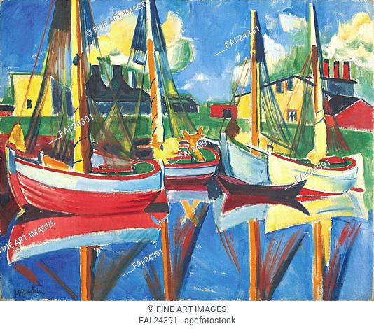 Fishing boats in the afternoon sun. Pechstein, Hermann Max (1881-1955). Oil on canvas. Expressionism. 1921. Germany. Private Collection. 80,1x99,8