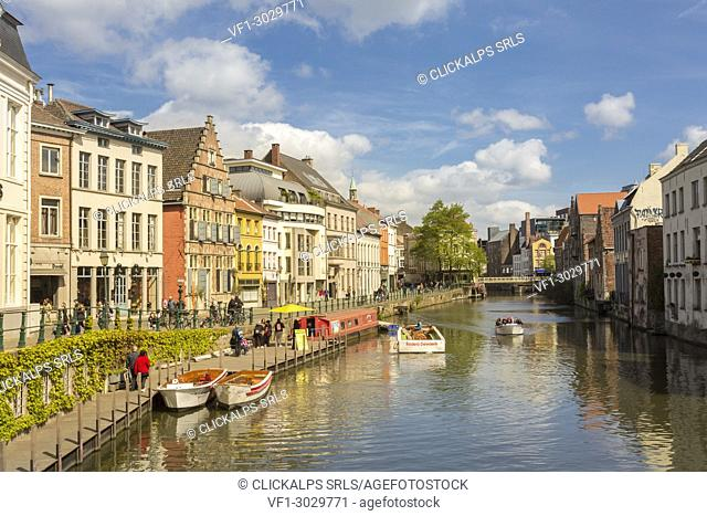 Colorful buildings along the Leie river in the city of Ghent, east flanders province, flemish region, Belgium