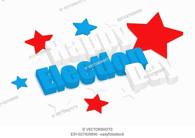 Drawing Art of Happy Election Day 3d Text Banner Vector Illustration