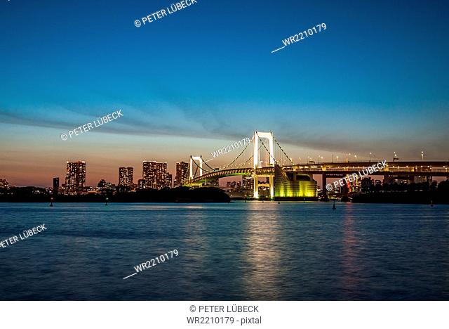 Rainbow Bridge as viewed from Odaiba, Tokyo, Japan