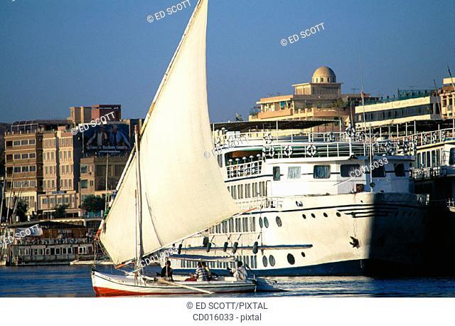 Felucca on Nile River. Aswan. Egypt