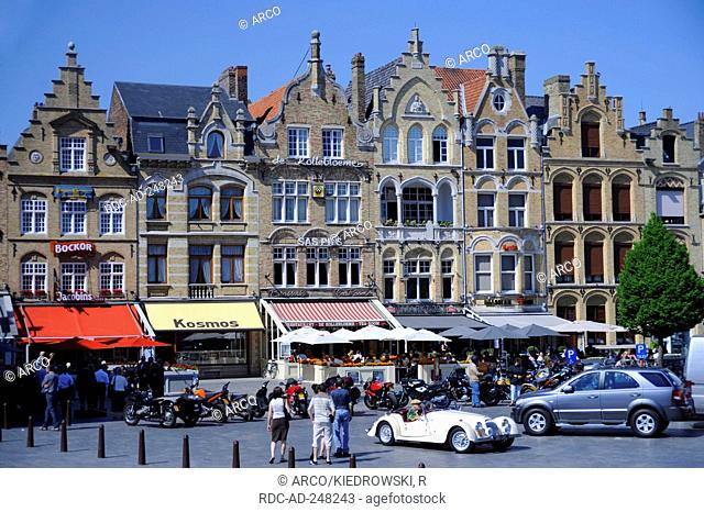 Historical houses at market square Ypern West-Flanders Belgium Leper