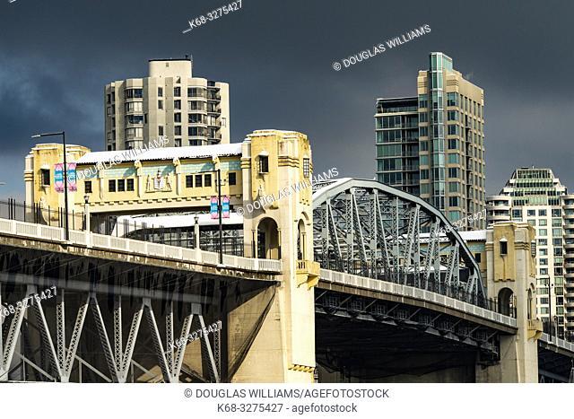 Vancouver skyline with the art deco Burrard Bridge over False Creek