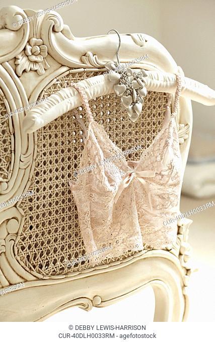 Lacy ladies' underwear on hanger