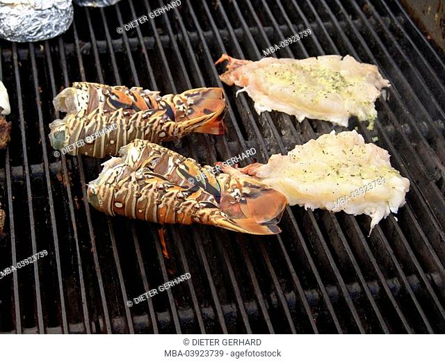 Grill, foods, Lobster, preparation, cooks, grilling close-up, detail, Central America, Mexico, Yucatan, vacation, trip, tourism, gastronomy, food, pub