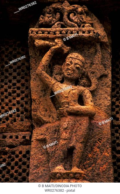 Dancing Nayika with musical instrument khanjani at Konarak Sun Temple , Orissa , India