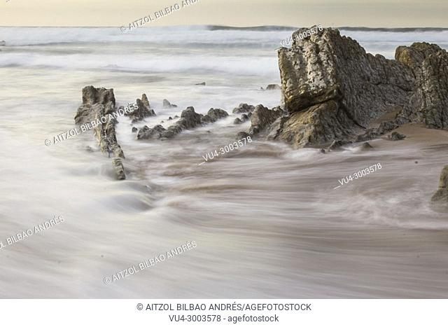 Long exposure in Sopelana Beach, Basque country. When the tide is low the rocks appear, creating courious formations