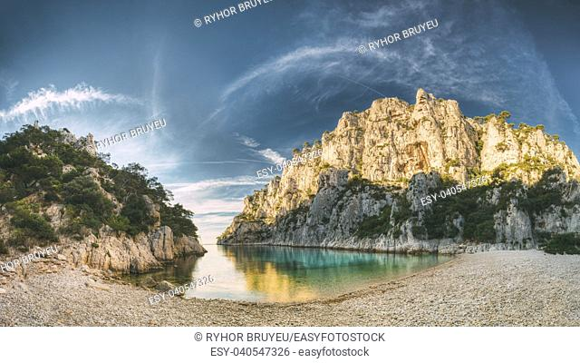 France, Cassis. Panorama Of Beautiful Nature Of Calanques On The Azure Coast Of France At Morning Sunrise Time. Coast The En Vau Near In South France