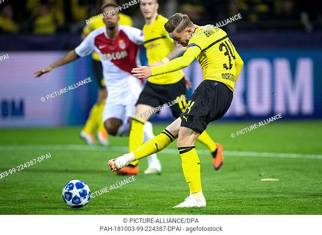 03 October 2018, North Rhine-Westphalia, Dortmund: Soccer: Champions League, Borussia Dortmund - AS Monaco, Group stage, Group A