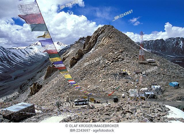 Prayer flags, Kardong La or Khardong La or Khardung Pass, highest motorable road, pass in the world, Ladakh, Indian Himalayas, Jammu and Kashmir, North India
