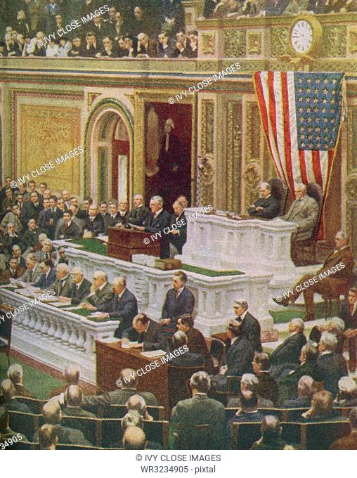 The caption reads: The President of the United States delivers his momentous message to Congress declaring that a State of War existed between the United States...