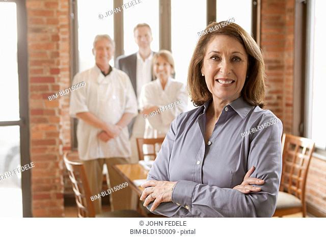 Restaurant staff standing together