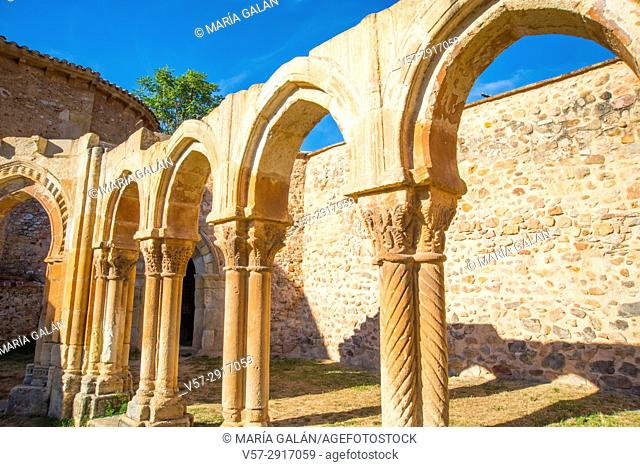 Arcade of the Romanesque cloister. San Juan de Duero monastery, Soria, Spain