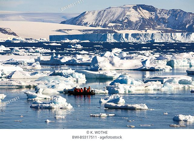 rubber raft trip among icebergs in the Weddell Sea, Antarctica