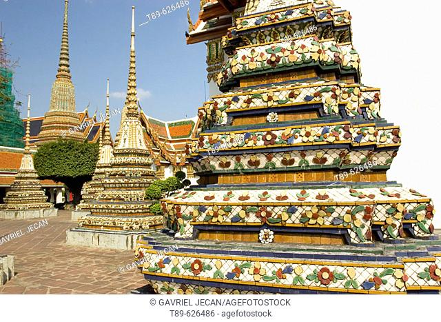 Stupas at Wat Phra Cethuphon (Temple of the Reclining Buddha) in Rattana Kosin Region of Bangkok, Wat Phra Cethuphoa is Bangkok's Larges temple and one of the...
