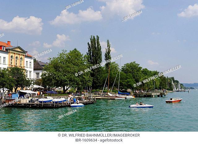 Ueberlingen on Lake Constance, lakeside promenade and wharves, Baden-Wuerttemberg, Germany, Europe