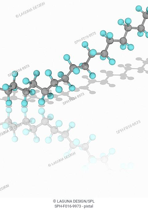 Teflon. Molecular model of part of a chain of the synthetic hydrophobic fluoropolymer polytetrafluoroethylene (PTFE), a polymer consisting of chains of the...