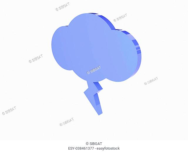 Lighting cloud icon over white background. Concept 3D illustration