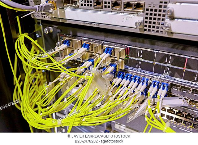 Board with fiber optic connections at data processing center, Hospital Donostia, San Sebastian, Basque Country, Spain