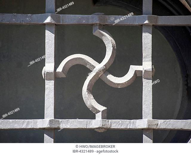 Bavarian Ministry of Economic Affairs, opened in 1938 as Luftgaukommando Süd, Detail of a window with a swastika shaped window grill, Munich, Bavaria, Germany