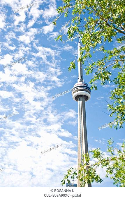 Low angle view of CN Tower in Toronto, Ontario, Canada