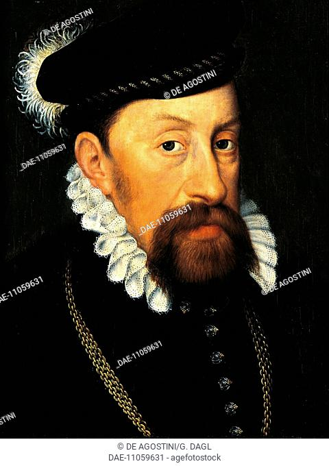 Portrait of Maximilian II (Vienna, 1527-Regensburg, 1576), Emperor of the Holy Roman Empire from 1563. Painting by an unknown 16th century French artist