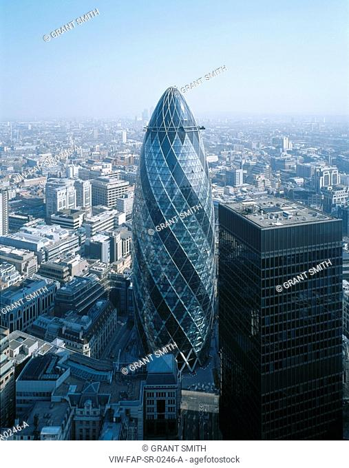 SWISS RE, 30 ST MARY'S AXE, LONDON, EC3 FENCHURCH, UK, FOSTER & PARTNERS, EXTERIOR