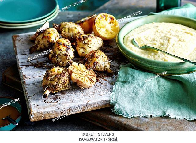 Chicken Legs Soft Parmesan Polenta and Gravy