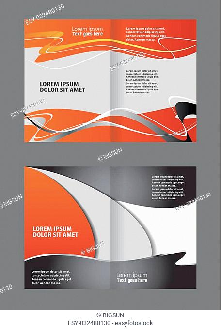 Empty bi-fold brochure template design with orange color, booklet