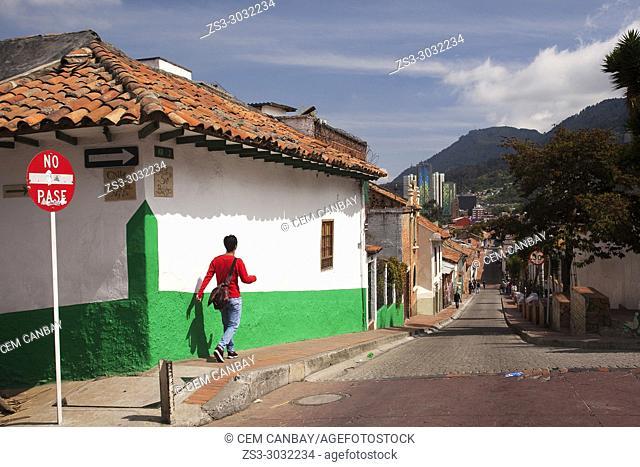 Street scene from the historic center La Candelaria, Bogota, Cundinamarca, Colombia, South America