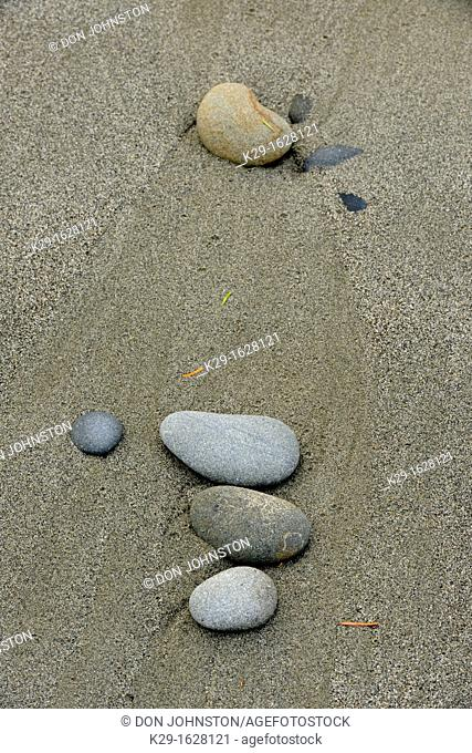 Beach sand patterns and pebbles on Ruby Beach at low tide Olympic NP, Washington